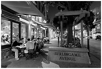 Burlingame Avenue at night. Burlingame,  California, USA (black and white)