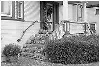 House entrance with pumpkins. Half Moon Bay, California, USA (black and white)