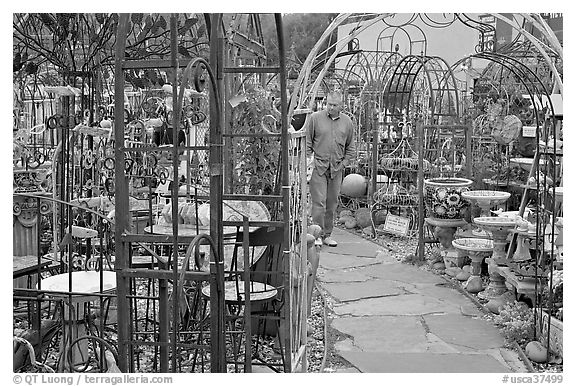 Man browsing in colorful outdoor antique display. Half Moon Bay, California, USA (black and white)