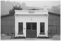 Tiny historic jail. Half Moon Bay, California, USA (black and white)