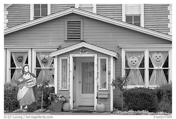 Zabella House, oldest in town. Half Moon Bay, California, USA (black and white)