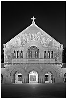 Memorial Church facade at night. Stanford University, California, USA ( black and white)
