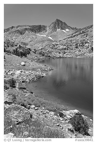Saddlebag lake and peak, John Muir Wilderness. California, USA (black and white)