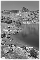 Saddlebag lake and peak, John Muir Wilderness. California, USA ( black and white)