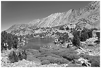 Lake and Inconsolable Range, John Muir Wilderness. California, USA (black and white)