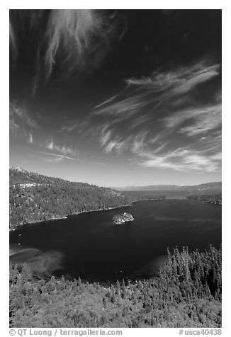Emerald Bay and Lake Tahoe, Emerald Bay State Park, California. USA (black and white)
