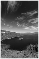Emerald Bay and Lake Tahoe, Emerald Bay State Park, California. USA ( black and white)
