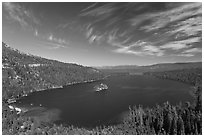 Wide view of Emerald Bay and Lake Tahoe, California. USA (black and white)