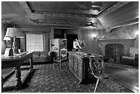 Living room, Vikingsholm castle, Lake Tahoe, California. USA (black and white)