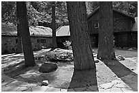 Vikingsholm courtyard, South Lake Tahoe, California. USA (black and white)