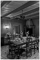 Dining room and dining table, Vikingsholm, Lake Tahoe, California. USA ( black and white)