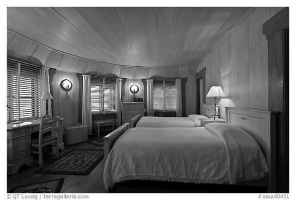 Bedroom, Vikingsholm castle, South Lake Tahoe, California. USA (black and white)