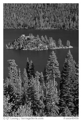 Fannette Island and Tea House, Emerald Bay State Park, California. USA (black and white)