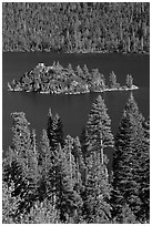 Fannette Island and Tea House, Emerald Bay State Park, California. USA ( black and white)