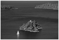 Mouth of Emerald Bay, Fannette Island, and sailboat, Lake Tahoe, California. USA ( black and white)