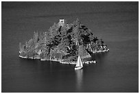 Yacht near Fannette Island, and sailboat, Emerald Bay State Park, California. USA (black and white)