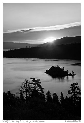 Sunrise over Emerald Bay and Fannette Island, California. USA (black and white)