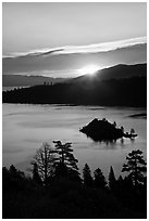 Sunrise over Emerald Bay and Fannette Island, California. USA ( black and white)