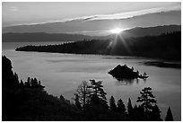Sun shining under clouds, Emerald Bay and Lake Tahoe, California. USA (black and white)