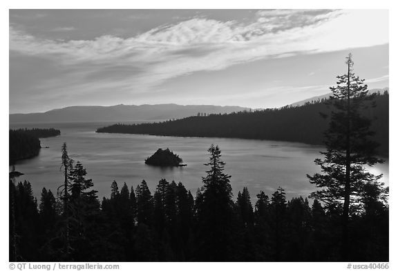 Emerald Bay, Fannette Island, and Lake Tahoe, morning, California. USA (black and white)