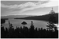 Emerald Bay, Fannette Island, and Lake Tahoe, morning, California. USA ( black and white)