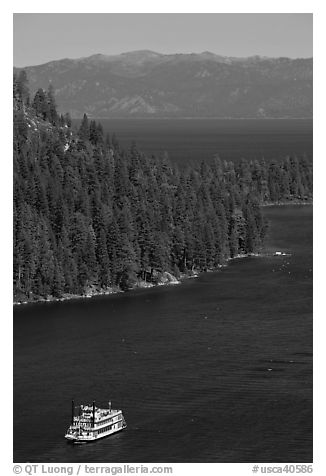 Paddle boat, Emerald Bay, and Lake Tahoe, California. USA (black and white)