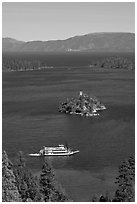 Paddle boat, Emerald Bay, Fannette Island, and Lake Tahoe, California. USA (black and white)