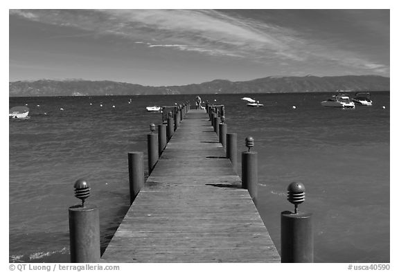 Wooden dock, West shore, Lake Tahoe, California. USA (black and white)