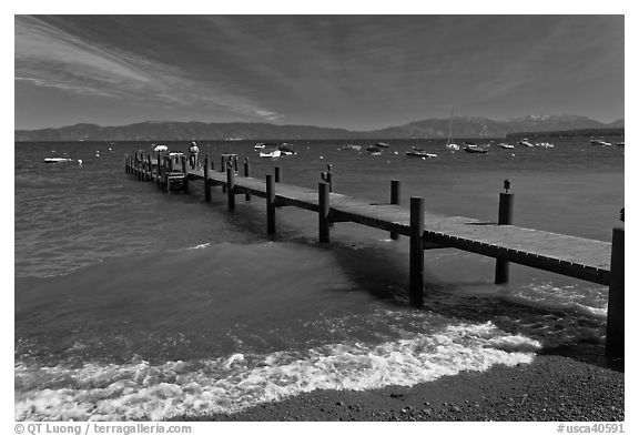 Dock on a windy day, West shore, Lake Tahoe, California. USA (black and white)