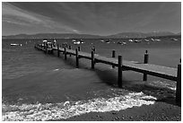 Dock on a windy day, West shore, Lake Tahoe, California. USA ( black and white)