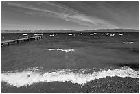 Surf break and dock, West shore, Lake Tahoe, California. USA (black and white)