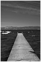 Dock, small boats, and blue waters, West shore, Lake Tahoe, California. USA ( black and white)