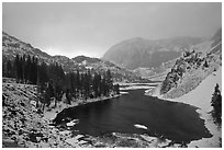 Ellery Lake with fresh snow, sunrise. California, USA (black and white)