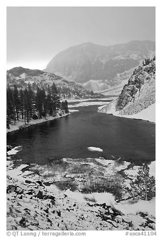 Early spring snow on Ellery Lake, sunrise. California, USA (black and white)