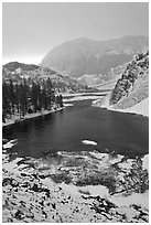 Early spring snow on Ellery Lake, sunrise. California, USA ( black and white)