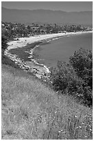 Hillside and West Beach. Santa Barbara, California, USA ( black and white)