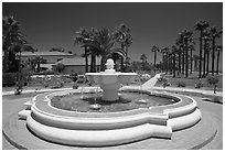 Fountain and palm trees. Santa Barbara, California, USA ( black and white)