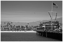 West Beach and Wharf. Santa Barbara, California, USA (black and white)