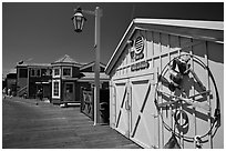 Historic wharf maintainance building. Santa Barbara, California, USA (black and white)
