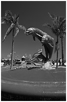 Dolphin statue and wharf. Santa Barbara, California, USA (black and white)