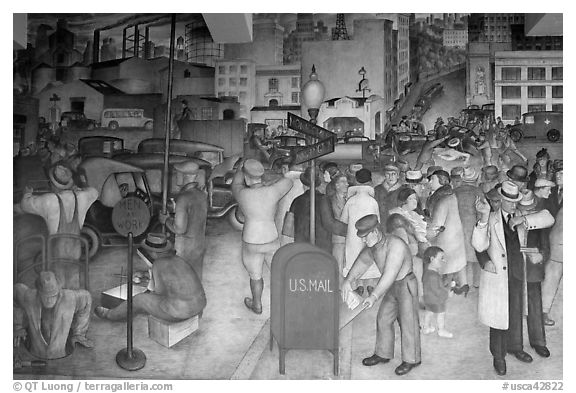 Detail of fresco showing a robbery in progress, Coit Tower. San Francisco, California, USA (black and white)