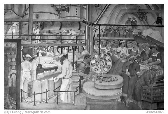 Factory workers depicted in mural fresco inside Coit Tower. San Francisco, California, USA (black and white)