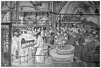 Factory workers depicted in mural fresco inside Coit Tower. San Francisco, California, USA ( black and white)