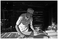 Baker preparing San Francisco sourdough bread. San Francisco, California, USA ( black and white)
