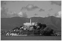 Alcatraz Island and prison. San Francisco, California, USA (black and white)