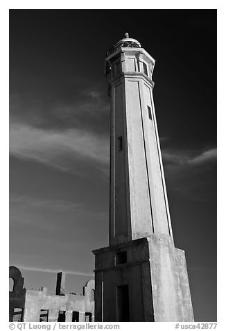 Lighthouse, Alcatraz Island. San Francisco, California, USA (black and white)