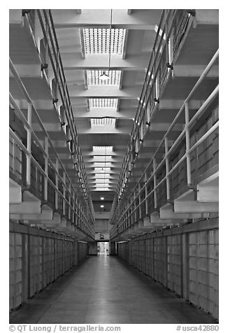 Cellhouse interior, Alcatraz Penitentiary. San Francisco, California, USA (black and white)