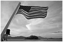 American Flag and Alcatraz Island. San Francisco, California, USA (black and white)