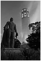 Columbus statue and Coit Tower, dusk. San Francisco, California, USA ( black and white)