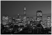 Financial district skyline at dusk. San Francisco, California, USA ( black and white)